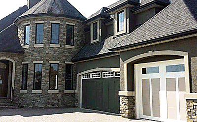 Palliser with Optional Clear Glass and Stockton Inserts custom garage door
