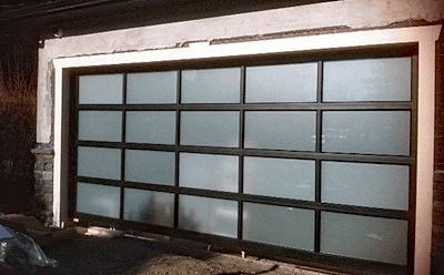 Black Esteem with Satin Sealed Windows garage door