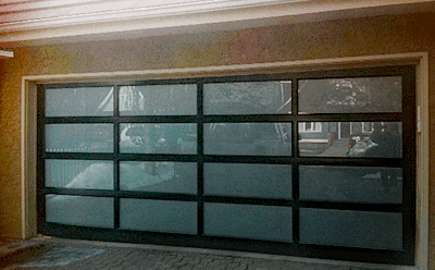Esteem Doors Clear Anodized Aluminum with Satin Glass garage door